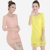 典雅氣質圓領全蕾絲洋裝   (粉橘  黃)兩色售 MDD160049
