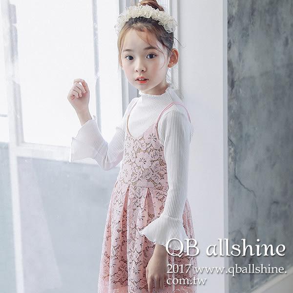 女童上衣 甜美木耳微捲喇叭袖內搭長袖T恤 韓國外貿中大童 QB allshine