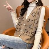 背心外套 菱形針織馬甲背心女外穿2021年秋裝新款韓版無袖毛衣開衫外套【快速出貨八折鉅惠】