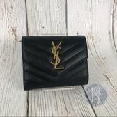BRAND楓月 SAINT LAURENT YSL 403943 黑荔枝皮 Y紋 經典 短夾 皮夾 錢包