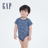 Gap嬰兒 布萊納系列 純棉紮染短袖包屁衣 734846-藍色