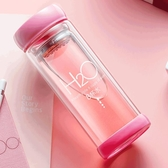 水杯 定制玻璃杯雙層便攜夏天水杯女可愛透明泡茶杯子家用創意個性潮流
