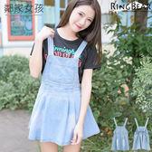 吊帶裙--可愛甜美鄰家女孩系單口袋牛仔吊帶裙(藍XL-5L)-Q69眼圈熊中大尺碼
