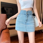 A字裙 牛仔短裙夏季2021新款半身裙女夏包短裙夏天A字裙高腰包臀裙子潮【快速出貨八折搶購】