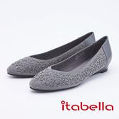 itabella.優雅時尚水鑽尖頭楔型低跟鞋(9581-80灰色)