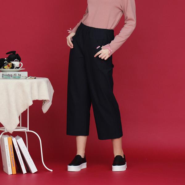 【中大尺碼】MIT織帶造型彈力寬褲