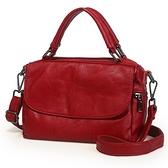 真皮手提包-純色牛皮簡約波士頓包女側背包5色73wt1[巴黎精品]