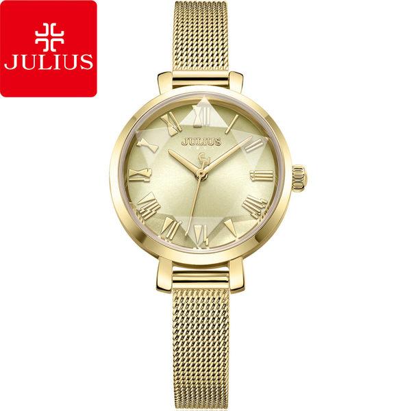 JULIUS 聚利時 米蘭風尚立體切割鏡面腕錶-高貴金/26mm【JA-1019B】
