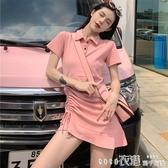 短袖洋裝撲啦啦韓風POLO領短袖不規則連身裙修身顯瘦學生短裙流行裙子春季特賣