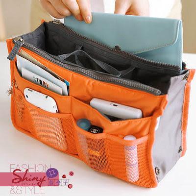 【40A12】shiny藍格子-實用多功能雙拉鍊整理收纳包/化妝包
