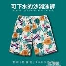 沙灘褲男泡溫泉度假海邊套裝短褲游泳褲速干可下水情侶花褲衩寬鬆 3C優購