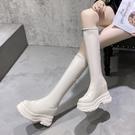 短靴米白色長筒靴女春秋款小個子內增高不過膝長靴厚底高筒騎士靴潮