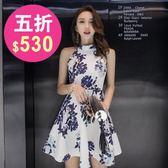 洋裝 無袖中國風印花繞頸小禮服 派對夜店 韓版 連身裙 花漾小姐【預購】