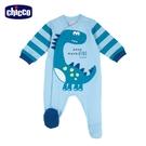 chicco-快樂恐龍-造型條紋前側開長袖兔裝-粉藍