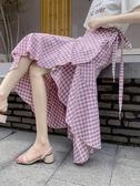 沙灘裙 一片式格子半身裙不規則夏高腰a字荷葉邊魚尾裙裹裙女度假沙灘裙【快速出貨】