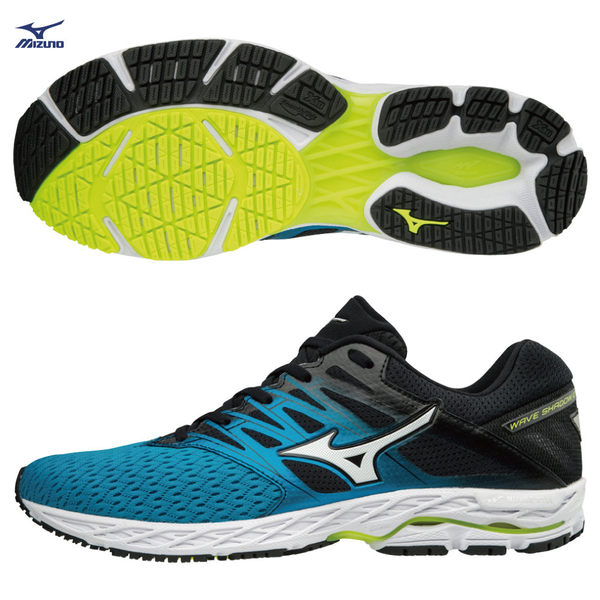 MIZUNO WAVE SHADOW 2 男鞋 慢跑 網布 透氣 耐磨 藍 黑 【運動世界】J1GC183001