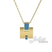 茱麗葉精品【全新現貨】HERMES Eileen 經典H LOGO銀飾項鍊.金/藍色
