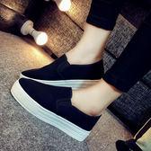 女帆布鞋厚底樂福鞋女鞋一腳蹬懶人鞋黑色布鞋休閒 薔薇時尚