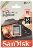 【聖影數位】SanDisk Ultra SDHC SD 16G 80MB/s C10 U1 記憶卡