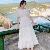 現貨 出清S 白色度假洋裝度假沙灘裙女高腰顯瘦圓領五分袖連身裙大擺長裙子T356-I紅粉佳人
