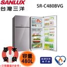 【SANLUX三洋】480L 1級采晶玻璃變頻上下雙門電冰箱 SR-C480BVG 含基本安裝 免運費