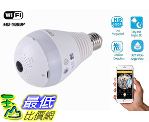 [106美國直購] smart camera 360 eoqo Wide Angle Fisheye WiFi IP Hidden Camera Bulb LED Light 1080P