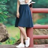 及膝裙半身裙女春新款文藝學生亞麻及膝百摺裙短裙高腰復古A字棉麻中裙超級爆品