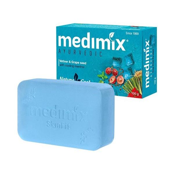 印度MEDIMIX 藍寶石沁涼美肌皂100g(岩蘭草&葡萄籽)【小三美日】