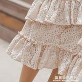 中長款蕾絲半身裙女2018春夏季新款高腰不規則荷葉邊魚尾裙包臀裙
