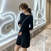 漂亮小媽咪 毛衣洋裝【D3035】 S碼 長袖洋裝 針織連衣裙 韓 修身 高腰 顯瘦 針織裙 毛衣裙 []