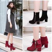 2018秋冬新款中筒靴高跟短靴女粗跟中跟英倫女靴圓頭側拉鏈馬丁靴 美芭