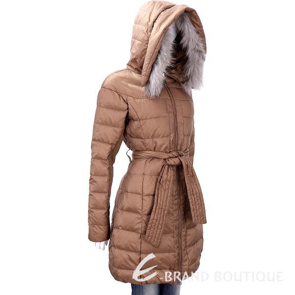 PINKO 棕色毛領飾邊連帽羽絨外套(附腰帶) 1540348-B3