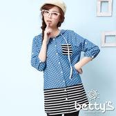 betty's貝蒂思 長版拼接條紋連帽牛仔圓點襯衫(藍色)