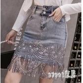 牛仔半身裙女夏裝2020年新款時尚大碼A字裙亮片半裙高腰包臀短裙 LR23383『Sweet家居』