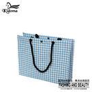 手提袋-編織方袋(L)-藍白千鳥-01C