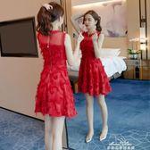 新款女神網紗流蘇性感洋裝女短裙無袖花邊高腰小禮服潮『夢娜麗莎精品館』
