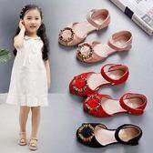 韓版夏季涼鞋包頭軟底小公主兒童女孩學生新款平底鞋 DN8704【野之旅】