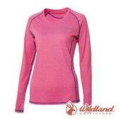 【wildland 荒野】女 圓領雙色抗UV長袖上衣『蜜粉紅』0A61611 T恤 上衣 女版 休閒 戶外 登山