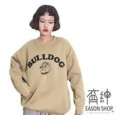 EASON SHOP(GW7569)實拍字母卡通動物狗狗汪星人印花刷毛加絨加厚長版OVERSIZE落肩素色棉T恤裙女大碼