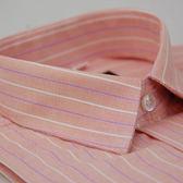 【金‧安德森】粉橘底白粉條紋窄版長袖襯衫