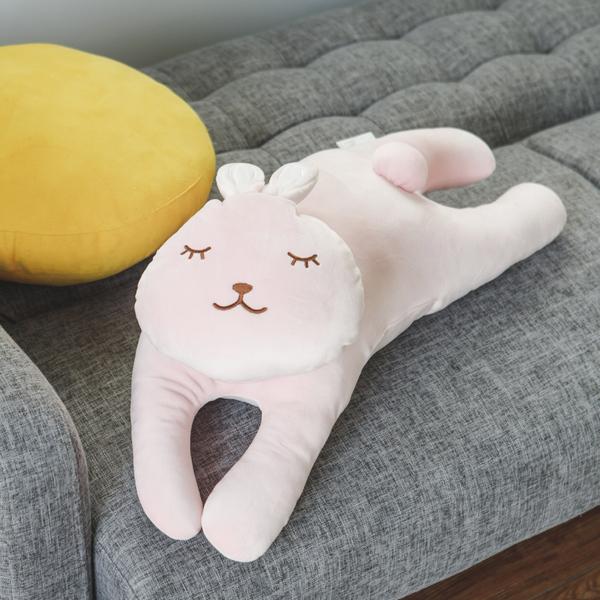 抱枕 交換禮物 枕 靠枕 動物抱枕【M0075-02】QQ麻糬動物抱枕-兔子 完美主義