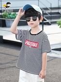 男童T恤 男童T恤短袖夏裝兒童半袖條紋上衣中大童夏季2021新款韓版洋氣潮 快速發貨