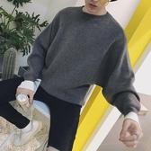 韓版簡約潮流男士休閒背后印花針織衫蝙蝠袖套頭衫 ☸mousika