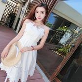 白色洋裝—夏季新款時尚性感交叉露背吊帶連身裙休閒海邊度假沙灘裙女潮 korea時尚記