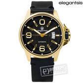 elegantsis / ELJT55A-NB03LC / 品味強勢潮流復古新騎士日期防水機械牛皮手錶 黑x金框 44mm