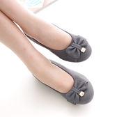 懶人鞋 休閒鞋 灰 女鞋 真皮平底鞋《SV7422》HappyLife