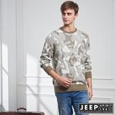 【JEEP】豹紋迷彩長袖針織衫 (卡其色)