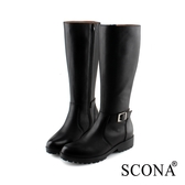 SCONA 蘇格南 全真皮 經典率性側扣厚底長靴 黑色 8786-1