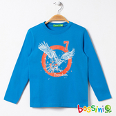 印花長袖T恤03天藍-bossini男童