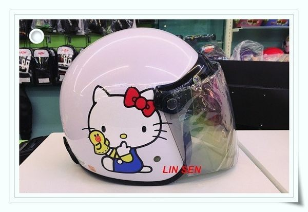 Hello Kitty安全帽,309,LINE熊/白